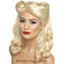 W283 Blonde Pin Up Girl Wig 1940s Vintage Audrey Hepburn War 40'S Victory Rolls