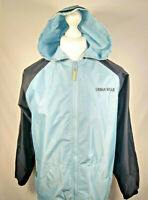 Retro / vintage 90s Hooded URBAN WEAR Jacket Blue Medium Mens Sports Wear