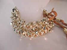 Lee Angel Color Therapy Mint CRM Suede Gold ball Friendship Bracelet NIP Set  3