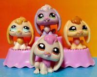 4 Rare Bunny Rabbit Littlest Pet Shop RARE LPS Lot 100% Authentic 864 1746 648