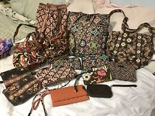 VERA BRADLEY Large Lot 14 Pouches Wallets Crossbody Tote Backpack Handbags BROWN
