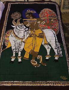 Batik Vintage  Sri Lanka Batik Painting Signed Vincent Sri Lanka 35 X 52