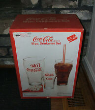 COCA-COLA SET OF 18 PIECES DRINKWARE GLASSES 6 EACH 6 OZ., 12 OZ. AND 20 OZ. NEW