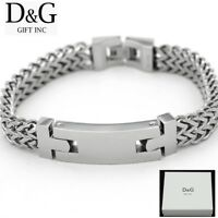 "DG Men's 8.5"" Silver Stainless-Steel 14mm Width Franco Buckle Bracelet + BOX"