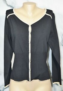 EMMA JAMES LIZ CLAIBORNE Lightweight Black Cardigan Sweater XL Tan Trim Unlined