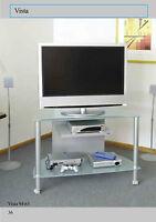 Carrello porta tv Vista 94 piani in vetro temperato strutt. in alluminio e ruote