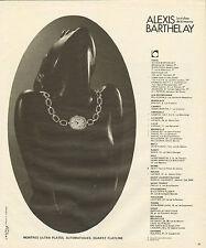 Publicité Advertising 1978 Montre ALEXIS BARTHELAY ultra plates
