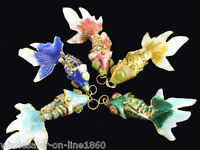 Vintage 5pc Enamel Chinese Cloisonne Gold Fish Articulated Gold Filigree Pendant