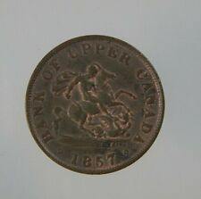 1857 Bank Of Upper Canada Half Penny Token Dragon Breton 720