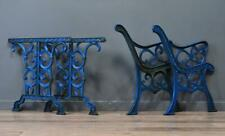 Attractive Antique Painted Cast Iron Bench & Table Ends