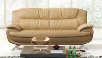 ESF 405 Modern Beige Chic Italian Leather Sofa  Living Room  Contemporary