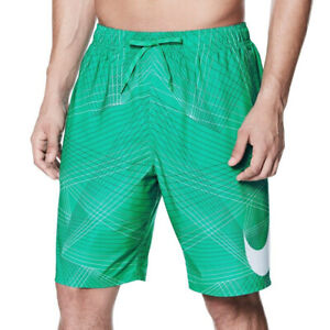 Nike Swim Men's Green Printed Volley Swim Shorts 9""