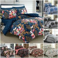 Duvet / Quilt Cover & Pillow Case Bedding Set With Fitted Sheet Double King Size