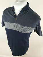 Mens Ted Baker Mondrin Geometric Polo Shirt Blue Large 4 Slim 40 Chest