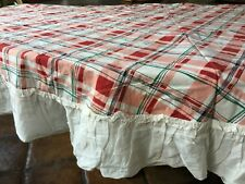 "Anthropologie Shabby Chic French Country 78"" Round Tablecloth Plaid Ruffles"
