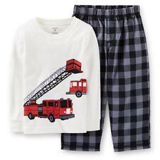 Boy's Carter's Size 4 LS Shirt & Pants, Red & Black Fire Truck Pajama Set, New