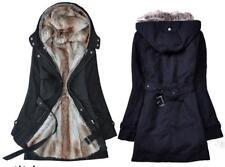 2017 Ladies Fur Lining Coat Womens Winter Warm Thick Long Jacket Hooded Parka M Black