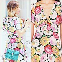 Zara Pink Floral V Neck Tea Mini Skater Dress Size XS S UK 6 8 US 2 4 Blogger ❤