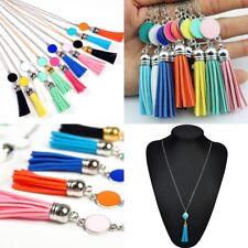 Elegant Boho Enamel Disc Blank Tassel Pendant Necklace Long Sweater Jewelry Gift