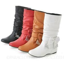 Wedge Pull on Casual Mid-Calf Women's Boots