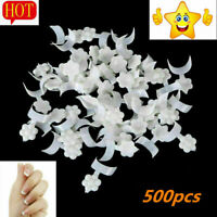 500* French False Fake Nail Art UV Gel Tips Short White Acrylic Wrap White C5C2