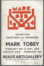 MARK TOBEY Abstract American painter - Signed rare 1934 exhibition flyer