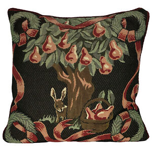 """RENAISSANCE Woven Tapestry Bunny Rabbit Pear Tree 12"""" square Throw Pillow cover"""