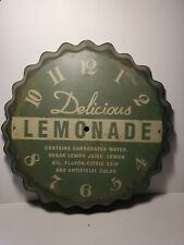 "Metal Bottle Cap Wall Clock Lemonade 14 3/4"" Diameter. No Clockworks"