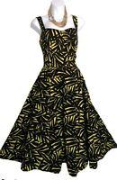 Debenhams Dress 12 Yellow black Tropical midi  50s retro fit flare wedding VGC