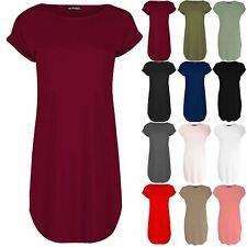 Womens Oversized Baggy Turn Up Sleeve Ladies Curved Hem T-Shirt Tunic Mini Dress