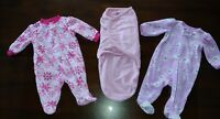 Swaddle Me Baby Girl Pink Velour Sleepers Lot Size 0-3 Months Zip Footed Carters