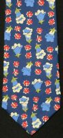 Men's Brooks Brothers  Blue and Red & White Flowers 100% Silk Neck Tie USA