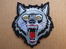 C024 ECUSSON PATCH THERMOCOLLANT LOUP féroce animal usa biker harley /9 x8.1 cm