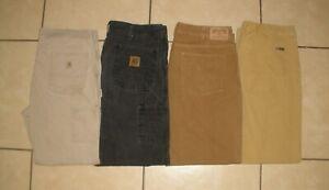 Lot of 4 Pants CARHARTT DULUTH MOUNTAIN KHAKI Duck Canvas Work Pants Men 38 x 32