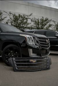 CADILLAC ESCALADE GRILLE GRILL & Hood Trim BLACK COLOR OEM 2015i -2020 BLACK OUT