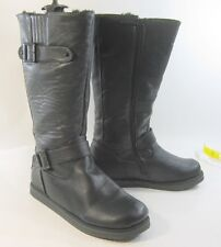 NEW Black Round Toe Winter Warm Sexy Mid-Calf Boot Size  6