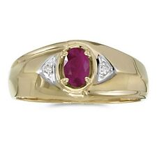 Mens Natural Ruby and Diamond Ring 10K Yellow Gold