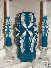 NEW HAND CARVED TEAL UNITY WEDDING CANDLE WITH TAPERS