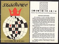POLAND 1965 Matchbox Label - Cat.G#128/29 Matches CHESS + Record chess.