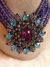 Heidi Daus 6-Strand PURPLE Bead Choker Necklace - SWAROVSKI Crystal