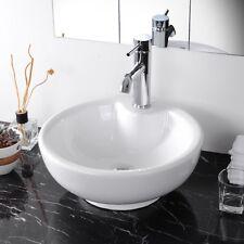Round Bowl Art Bathroom Home Spa Porcelain Vessel Sink White Ceramic Basin