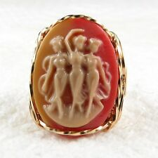 Dancing Graces Cameo Ring 14K Rolled Gold Jewelry Any Size Beige Resin