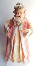 "Pink Pastel Roses Paper Mache Folk Art Santa Claus Figurine 14"""