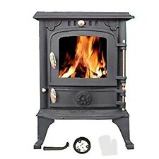 Cast Iron Log Burner MultiFuel Fire Dark Grey Compact Stove WoodBurner 5.5k