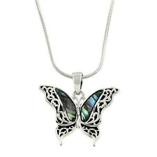 """Butterfly Charm Pendant Fashionable Necklace - Abalone Paua Shell - 17"""" Chain"""