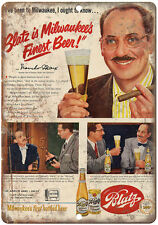"""Blatz Milwaukees Finest Beer Groucho Marx 10"""" x 7"""" reproduction metal sign"""