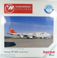 """Boeing 747-400 Northwest Airlines """"Worldplane"""" N670US Herpa 550208 1:200 in OVP"""