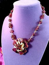 "VOLUPTE JULIO MARSELLA CRANBERRY PATE DE VERRE GLASS ""MAYORKA PETALS"" NECKLACE"