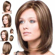 Women Ombre Bob Hair Wig Bangs Short Straight Synthetic Bobo Full Wigs Party