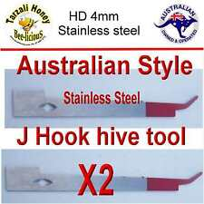 BEE KEEPING J  STYLE  AUSSIE HIVE TOOL  X 2  HD STAINLESS STEEL HIVE EQUIPMENT